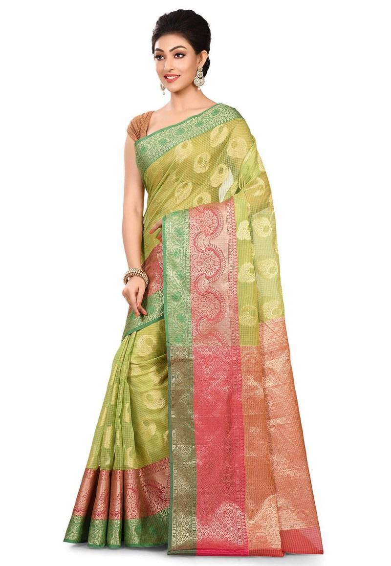Banarasi Cotton Silk Saree in Light Green 4