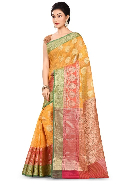 Banarasi Cotton Silk Saree in Mustard 7