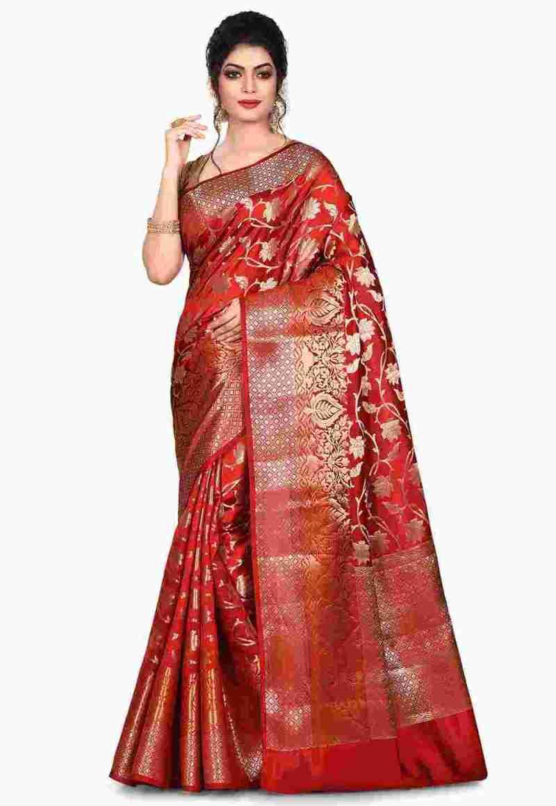 Pure Silk Banarasi Saree in Red 4