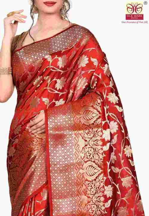 Pure Silk Banarasi Saree in Red 5