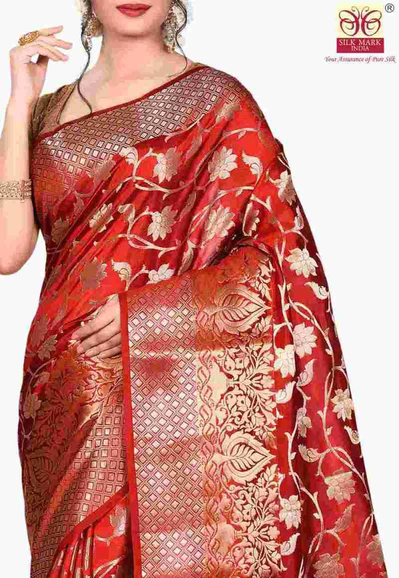 Pure Silk Banarasi Saree in Red 2