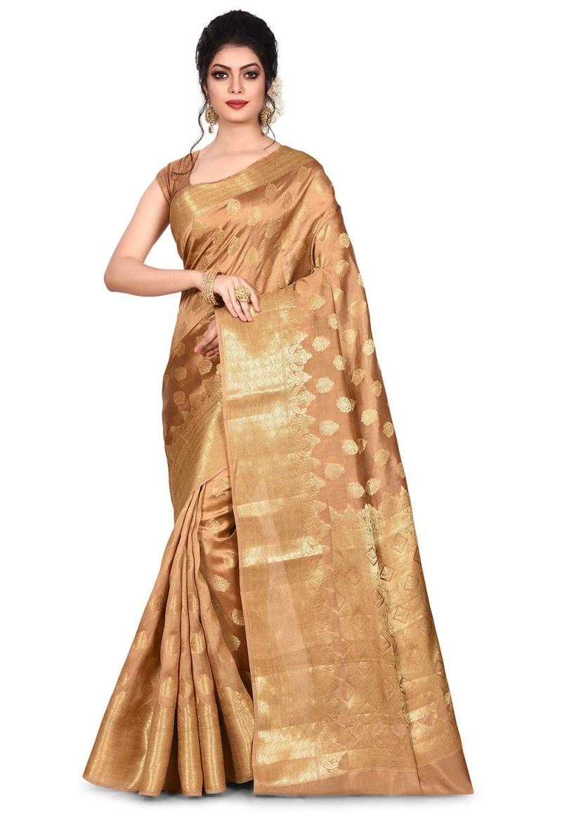 Pure Tussar Silk Banarasi Saree in Dark Beige 1