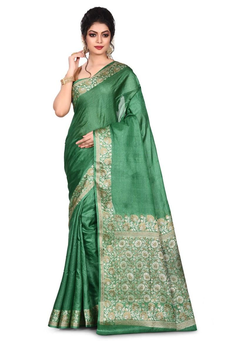 Pure Tussar Silk Banarasi Saree in Green 1