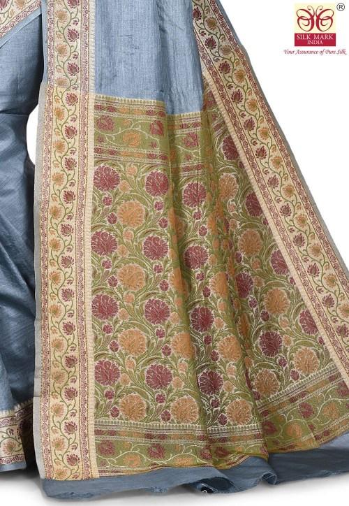 Pure Tussar Silk Banarasi Saree in Grey 5