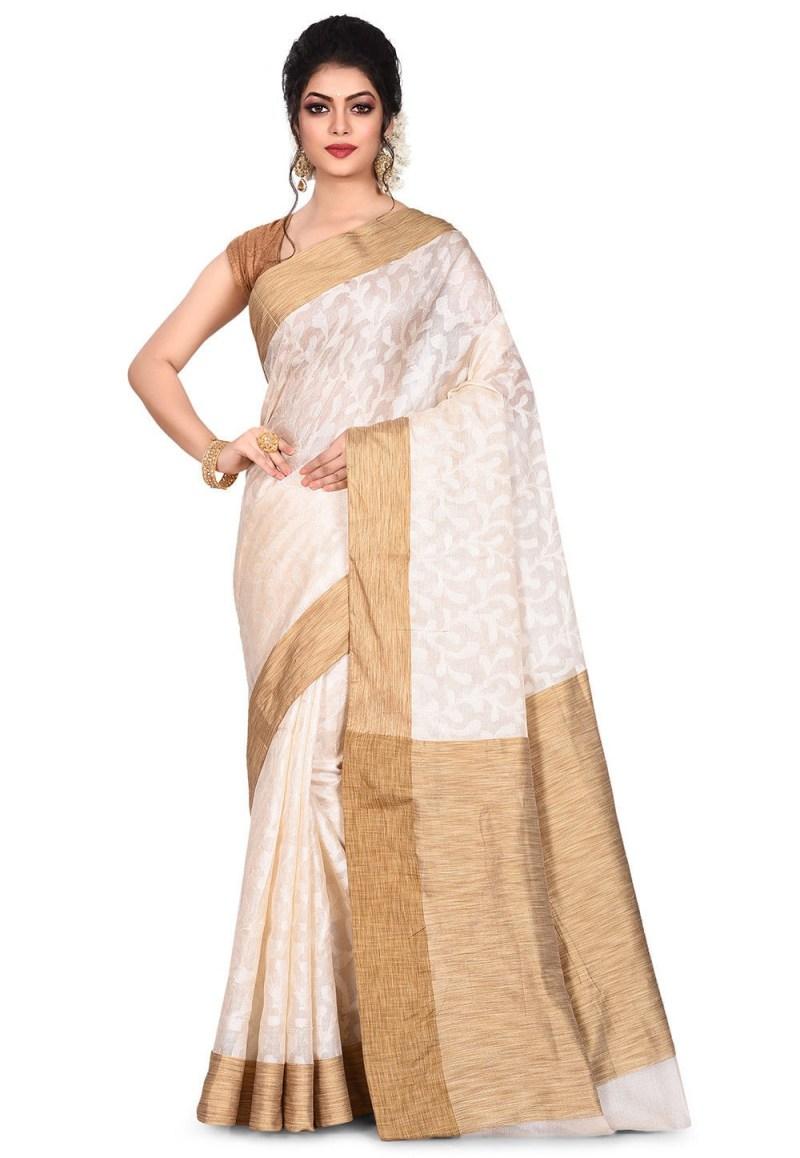 Pure Tussar Silk Banarasi Saree in Off White 1