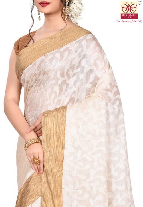 Pure Tussar Silk Banarasi Saree in Off White 5