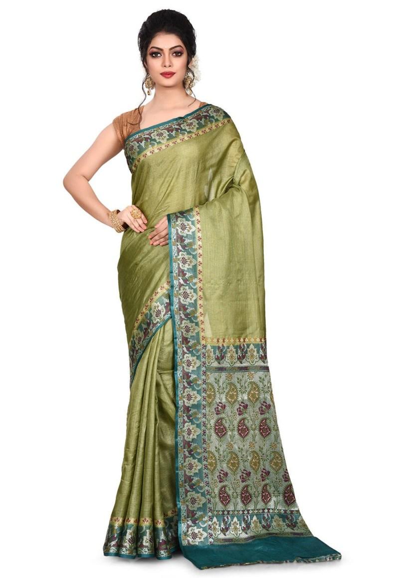 Pure Tussar Silk Banarasi Saree in Olive Green 1