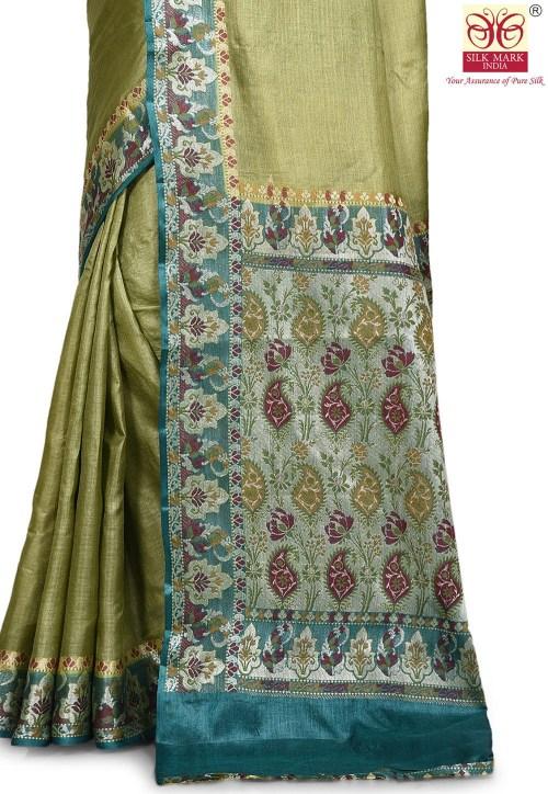 Pure Tussar Silk Banarasi Saree in Olive Green 5