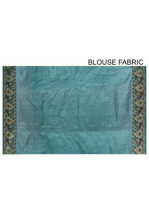 Pure Tussar Silk Banarasi Saree in Olive Green 6