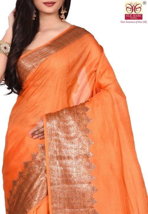 Pure Tussar Silk Banarasi Saree in Orange 5
