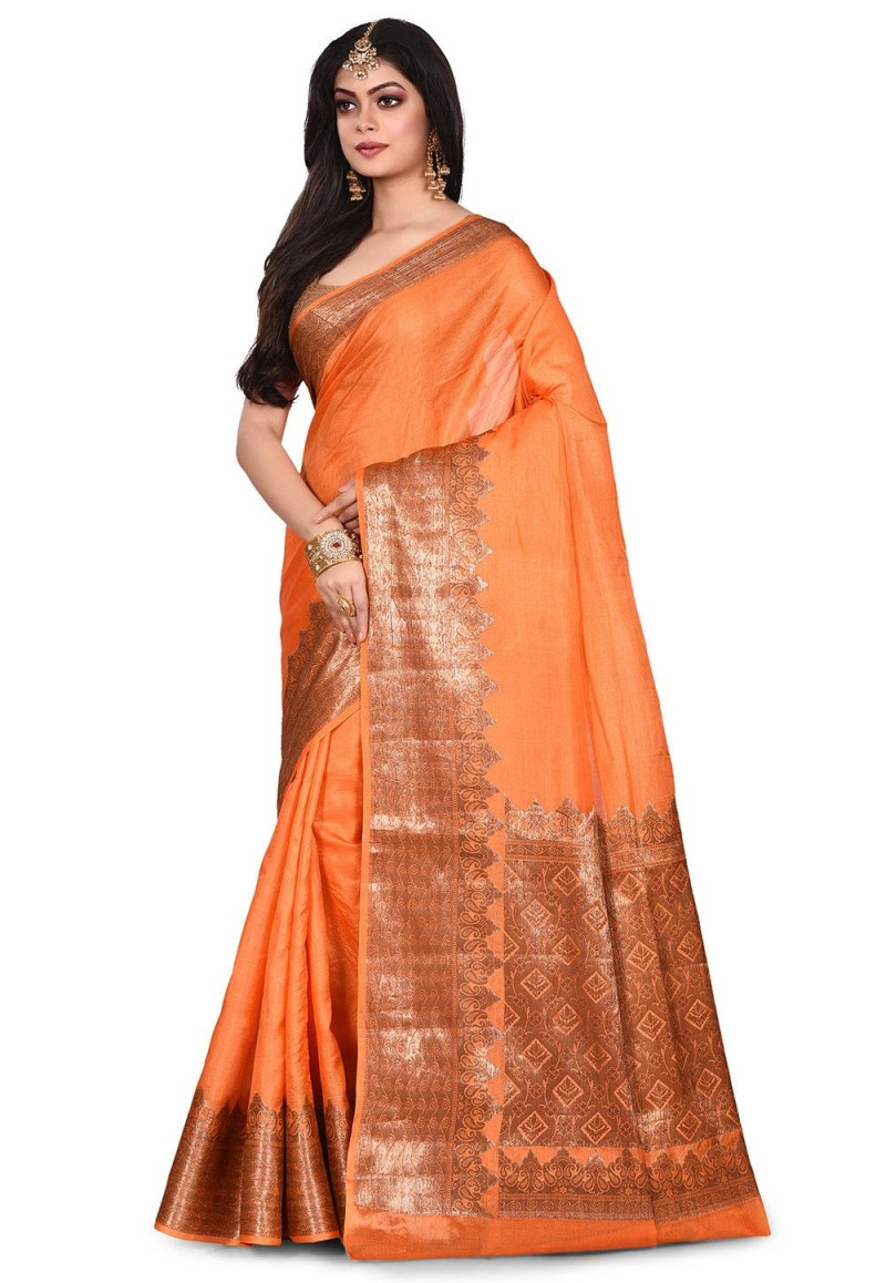 Pure Tussar Silk Banarasi Saree in Orange 4