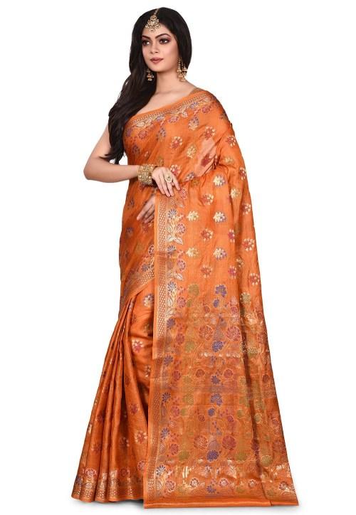 Pure Tussar Silk Banarasi Saree in Orange 7
