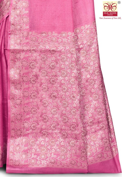 Pure Tussar Silk Banarasi Saree in Pink 5