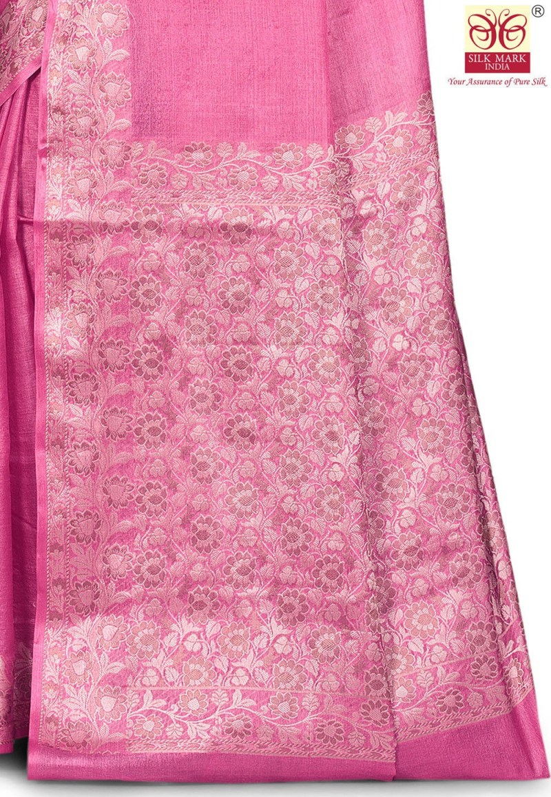 Pure Tussar Silk Banarasi Saree in Pink 2