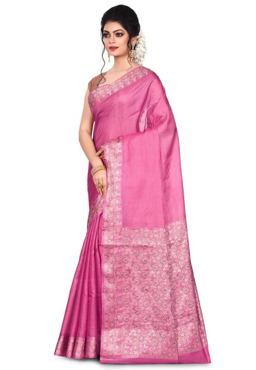 Pure Tussar Silk Banarasi Saree in Pink 7