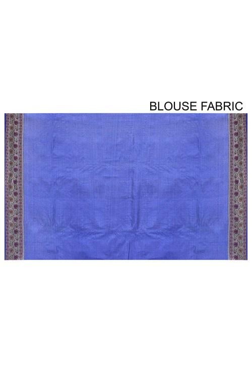 Pure Tussar Silk Banarasi Saree in Royal Blue 6