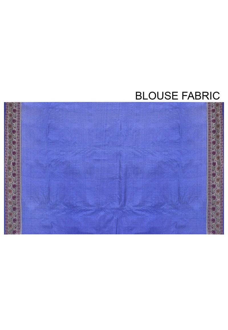 Pure Tussar Silk Banarasi Saree in Royal Blue 3