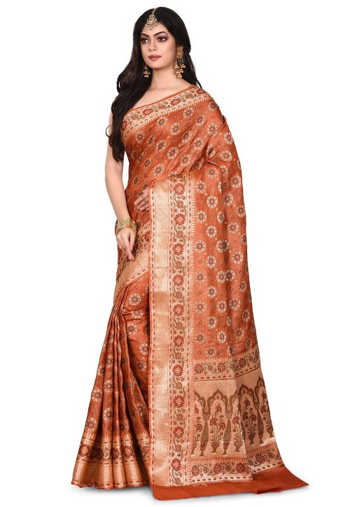 Pure Tussar Silk Banarasi Saree in Rust 7