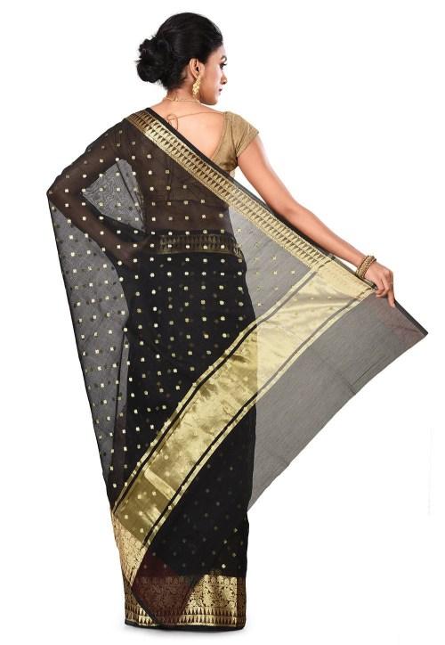 Banarasi Cotton Silk Saree in Black 9