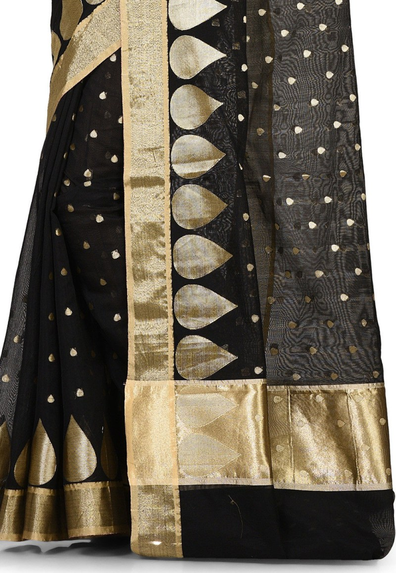 Banarasi Cotton Silk Saree in Black 2