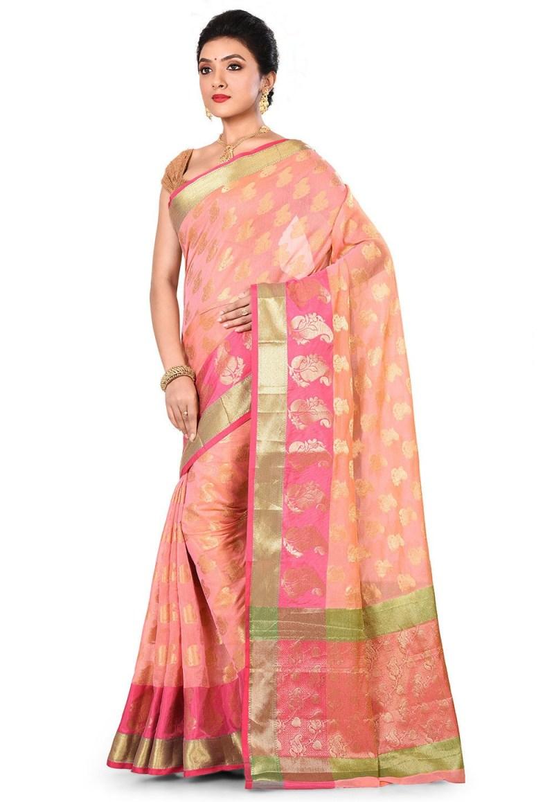 Banarasi Cotton Silk Saree in Pink Peach 4