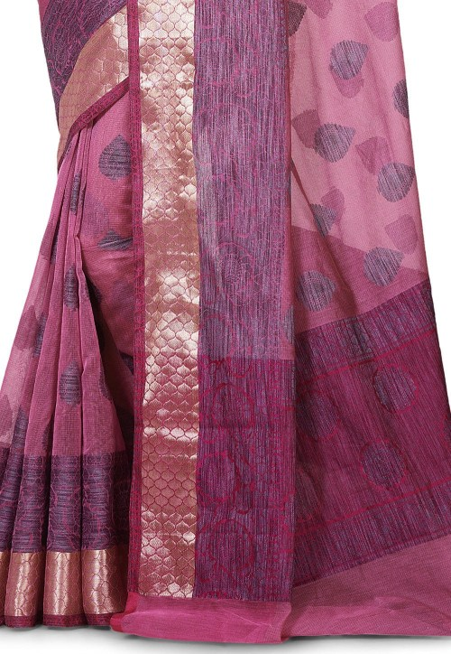 Banarasi Cotton Silk Saree in Pink 5