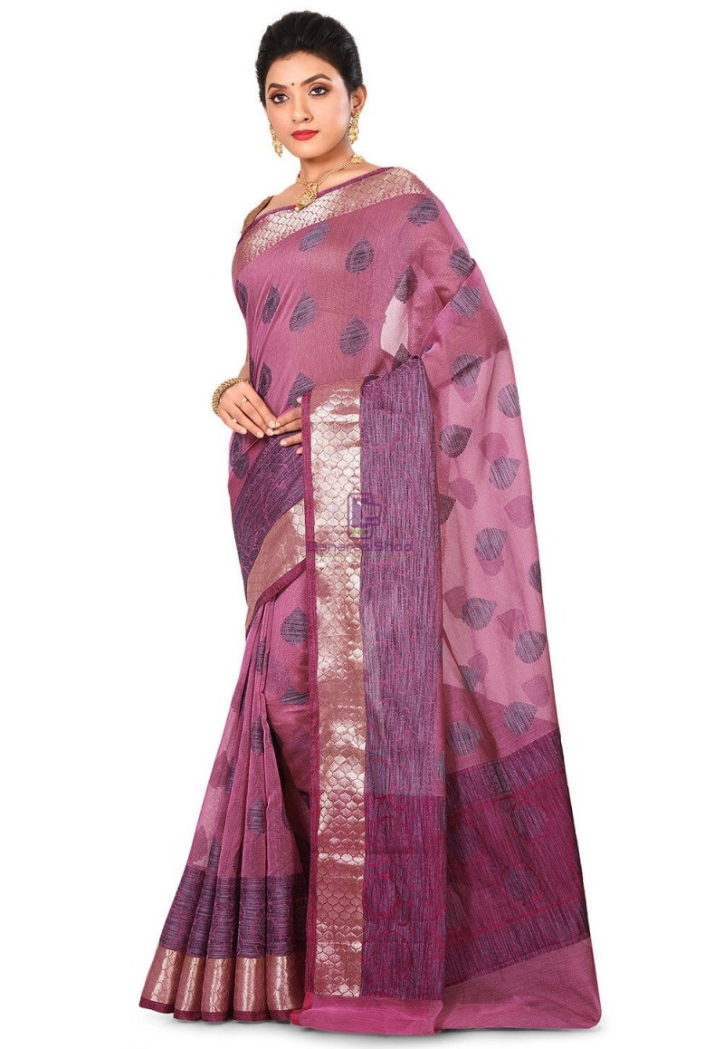 Banarasi Cotton Silk Saree in Pink 4