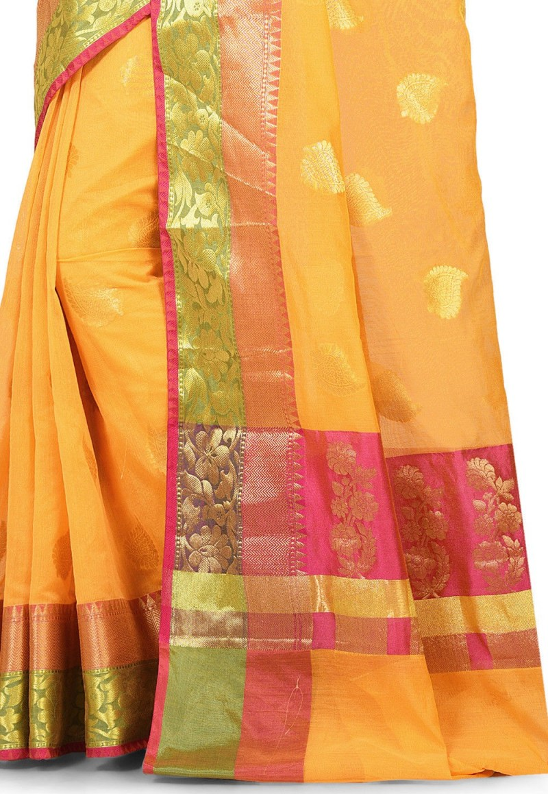 Banarasi Cotton Silk Saree in Yellow 2