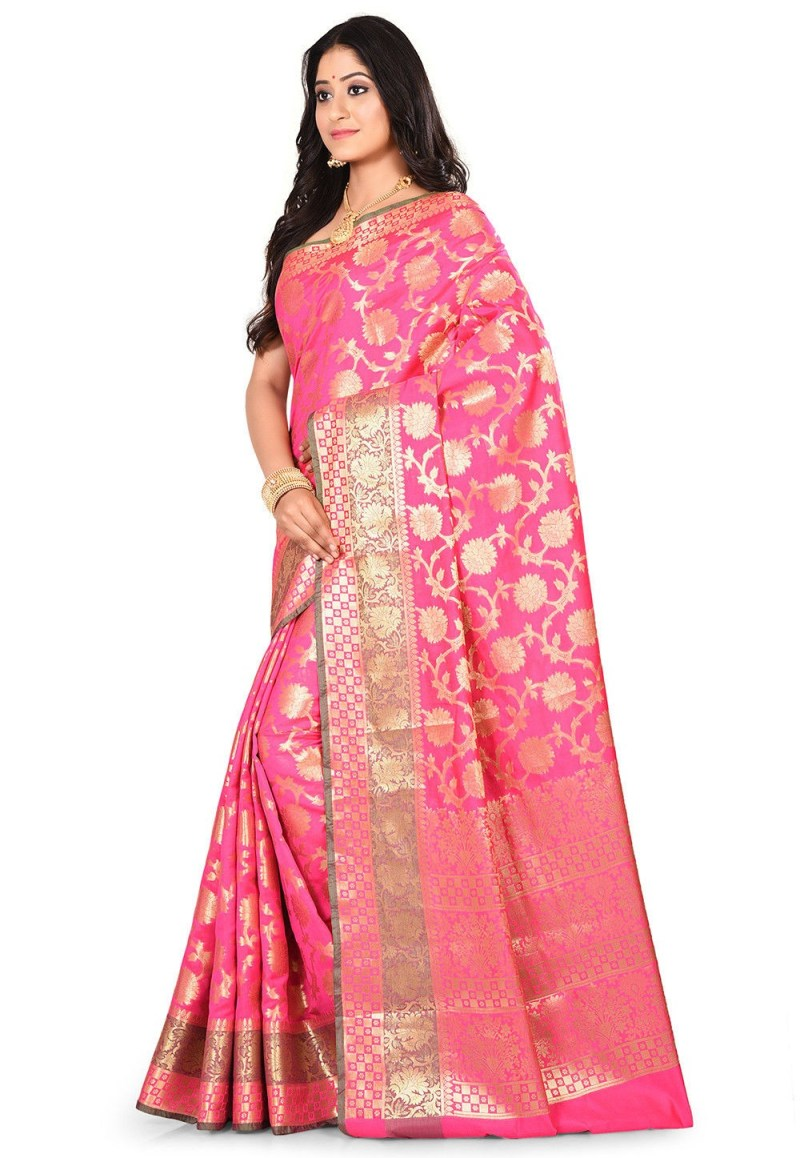 Woven Banarasi Art Silk Saree in Fuchsia 4