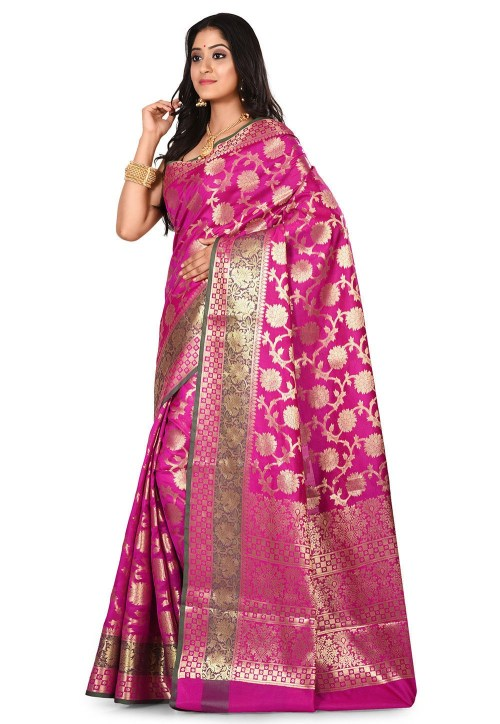 Woven Banarasi Art Silk Saree in Magenta 7
