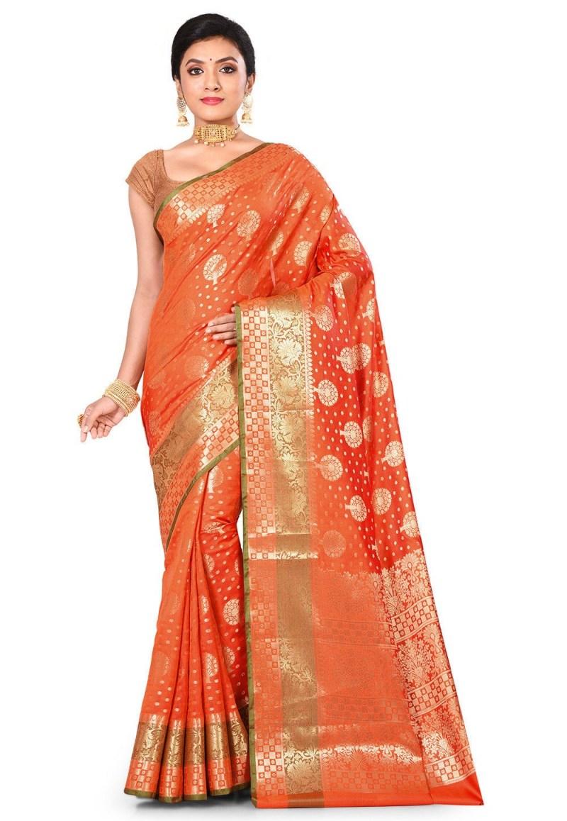 Woven Banarasi Art Silk Saree in Orange 1