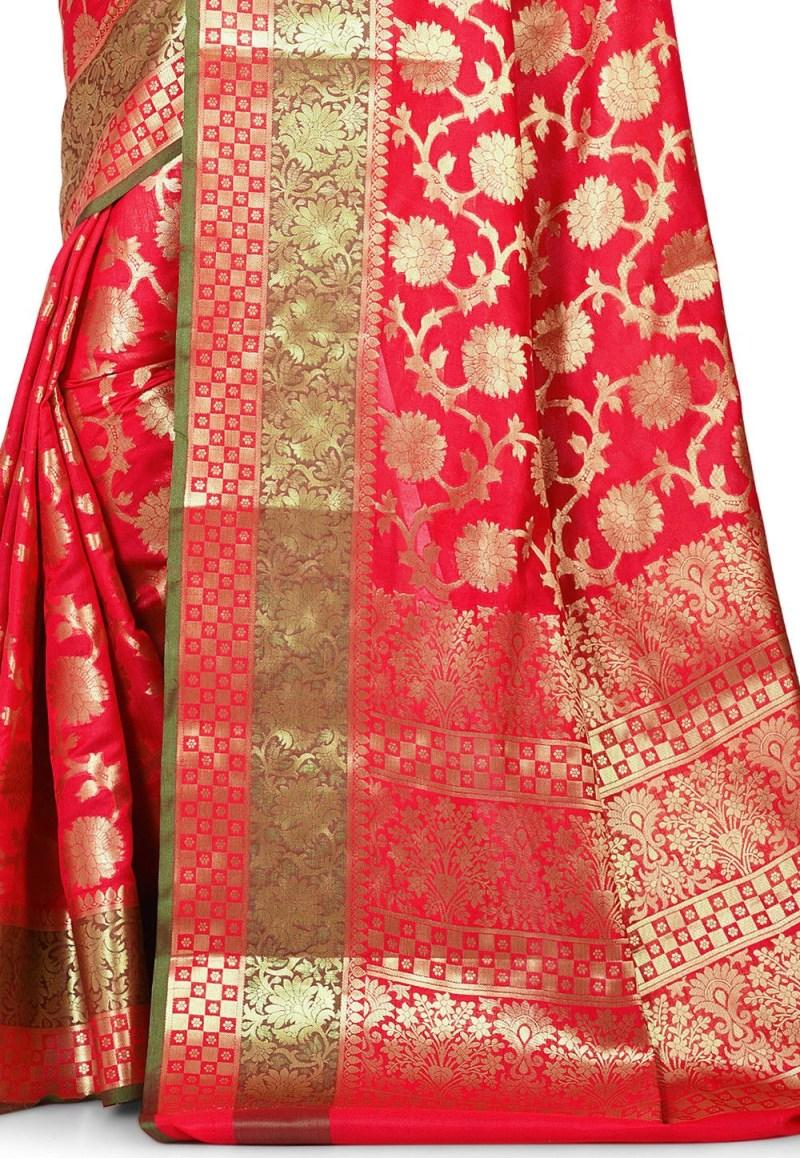 Woven Banarasi Art Silk Saree in Red 2