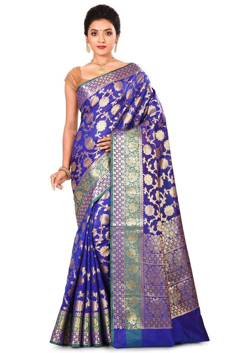 Woven Banarasi Art Silk Saree in Royal Blue 1