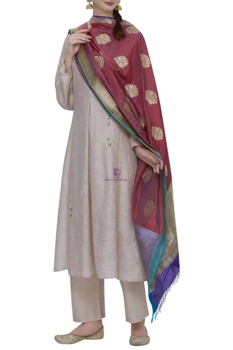 Handloom Banarasi Pure Katan Silk Dupatta in Maroon 1