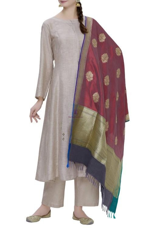 Handloom Banarasi Pure Katan Silk Dupatta in Maroon 3