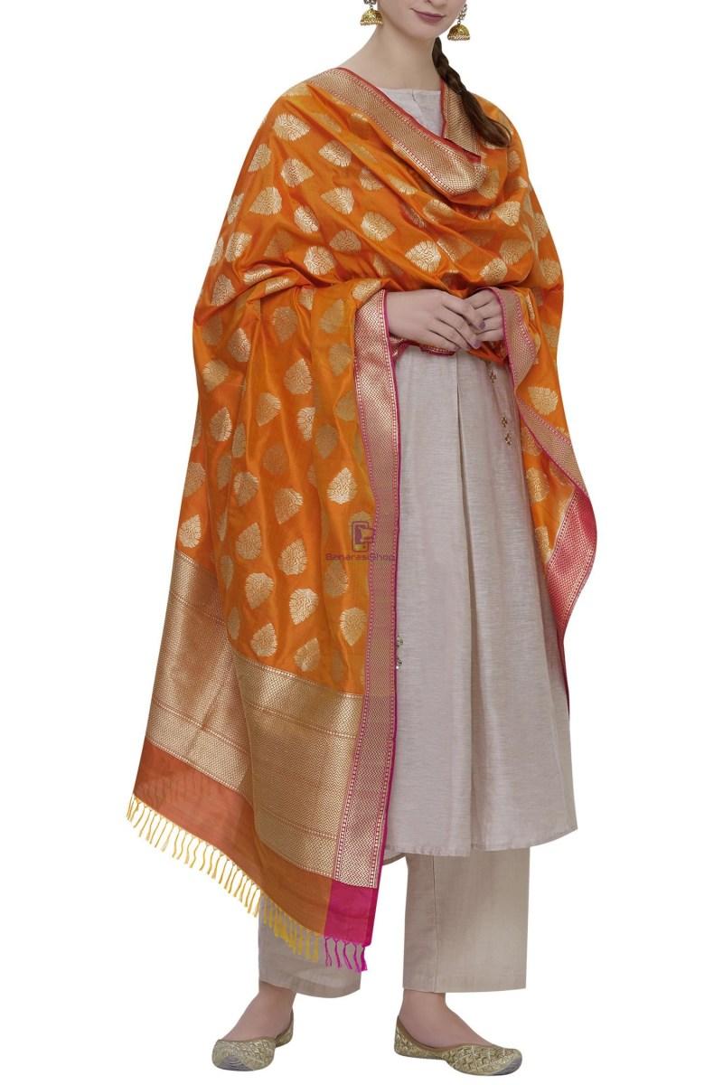 Handloom Banarasi Pure Katan Silk Dupatta in Orange 1
