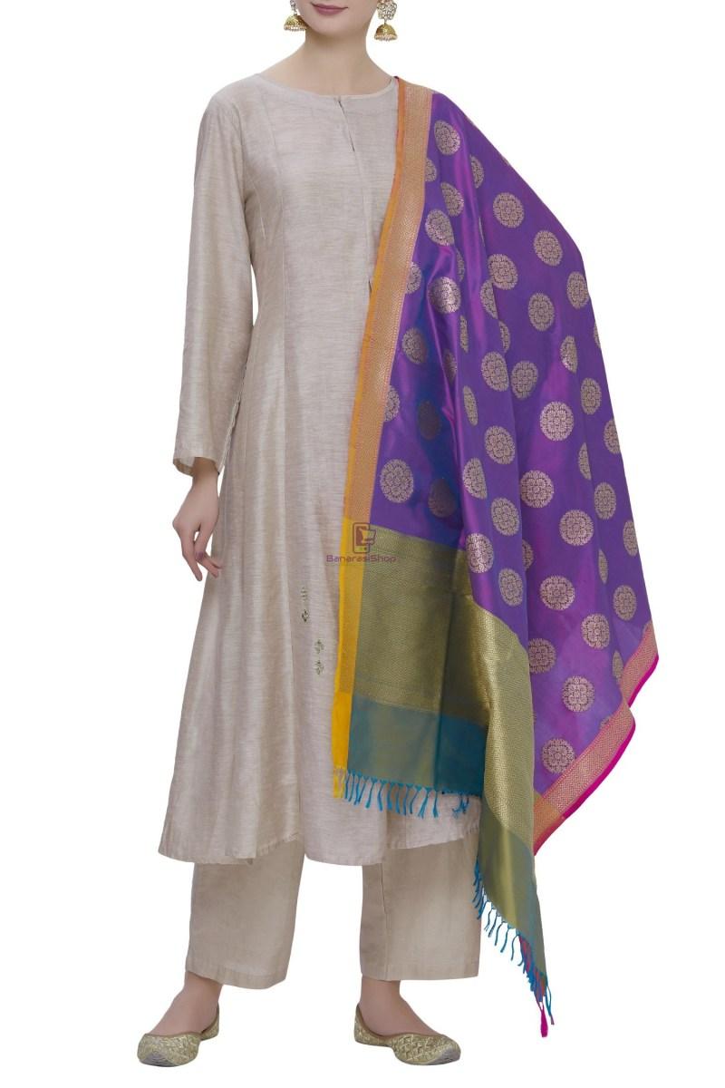 Handloom Banarasi Pure Katan Silk Dupatta in Purple 1