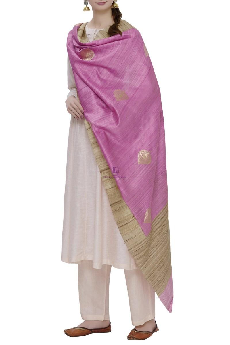 Banarasi Pure Dupion Silk Handloom Purple Dupatta With Khichha Pallu 1
