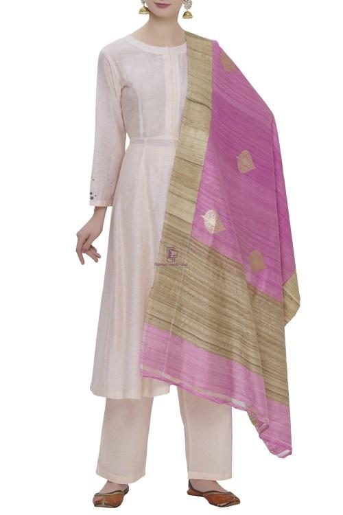 Banarasi Pure Dupion Silk Handloom Purple Dupatta With Khichha Pallu 3