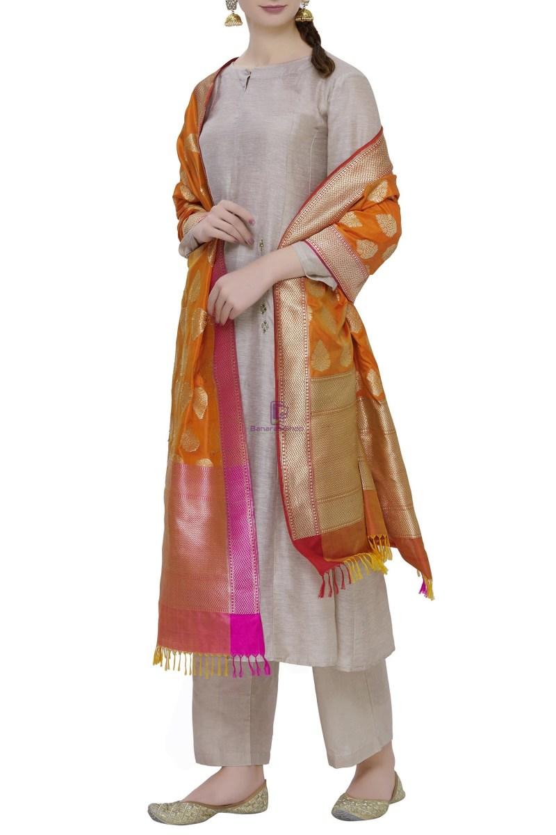 Handloom Banarasi Pure Katan Silk Dupatta in Orange 2