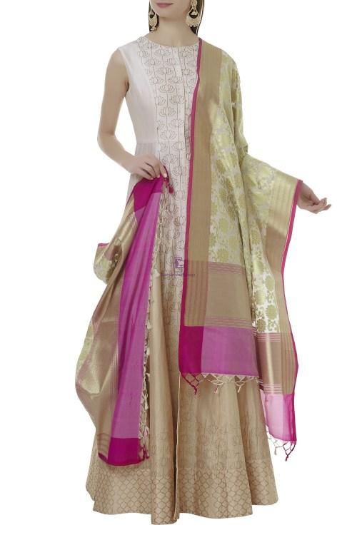Woven Banarasi Art Silk Dupatta in Off White 3