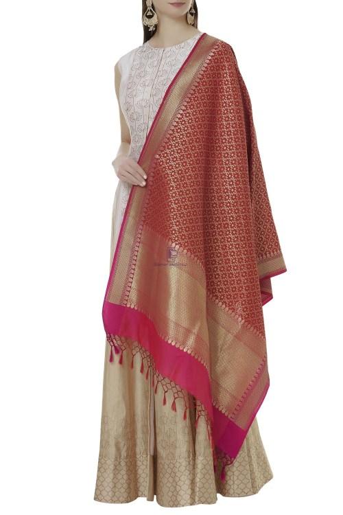 Woven Banarasi Art Silk Dupatta in Red 3