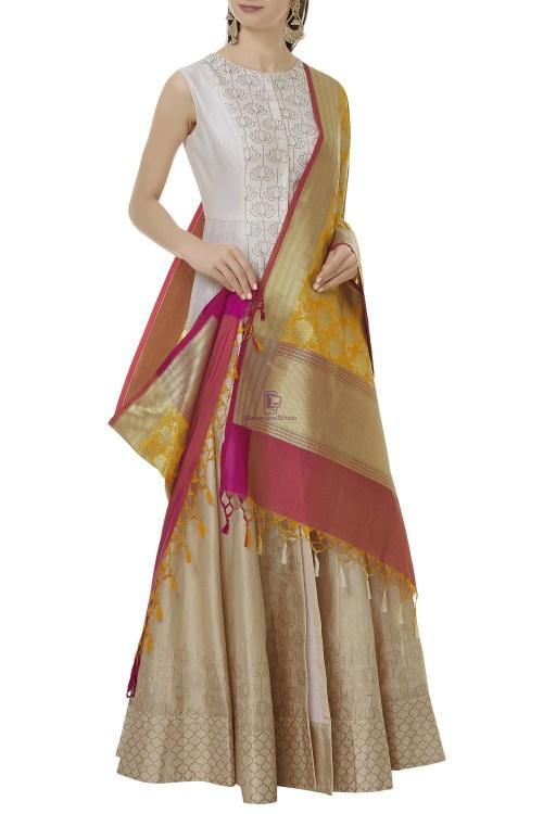 Woven Banarasi Art Silk Dupatta in Yellow 3