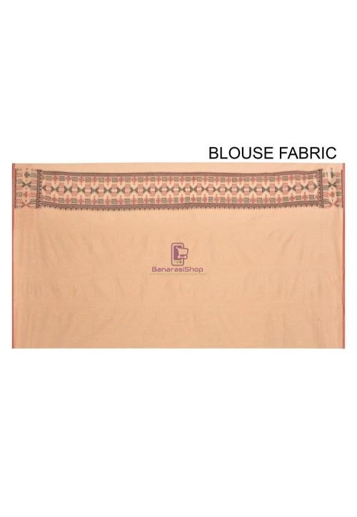 Woven Banarasi Cotton Silk Saree in Beige 6