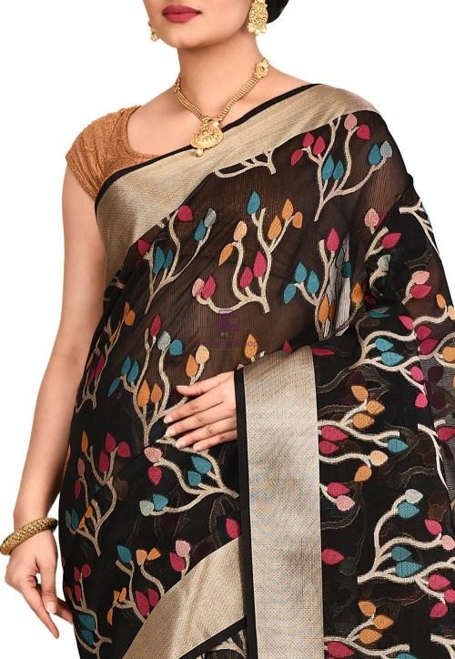 Woven Banarasi Cotton Silk Saree in Black 5
