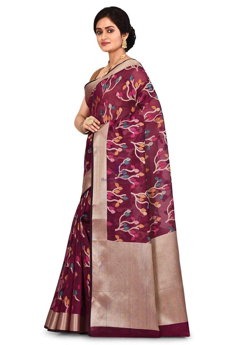 Woven Banarasi Cotton Silk Saree in Magenta 4
