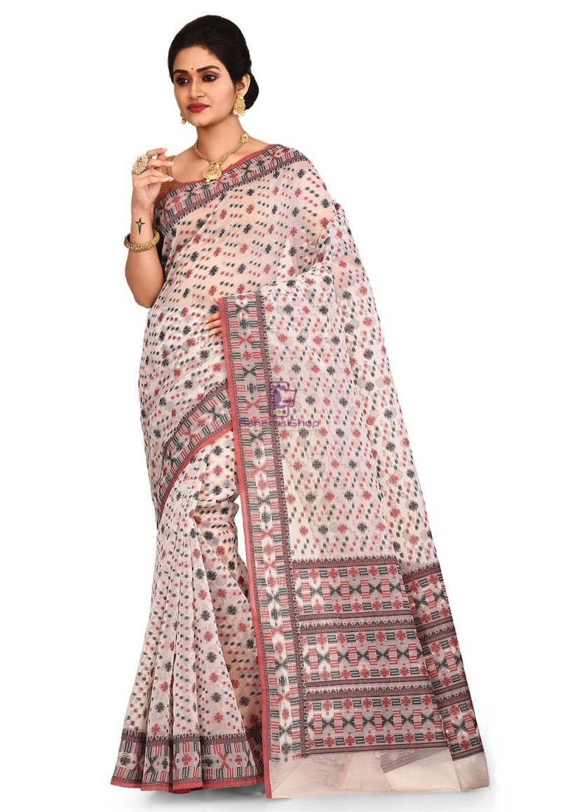 Woven Banarasi Cotton Silk Saree in White 1