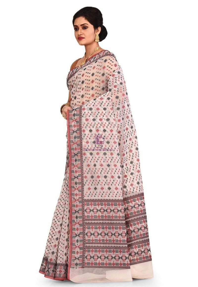 Woven Banarasi Cotton Silk Saree in White 4