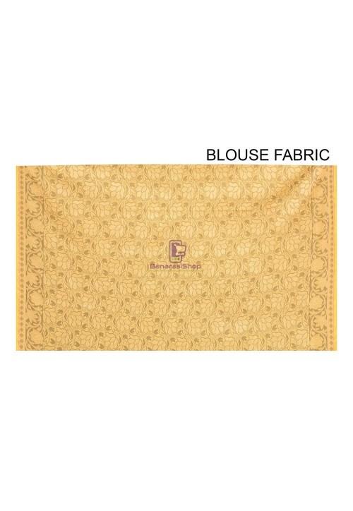 Woven Banarasi Cotton Silk Saree in Yellow 6