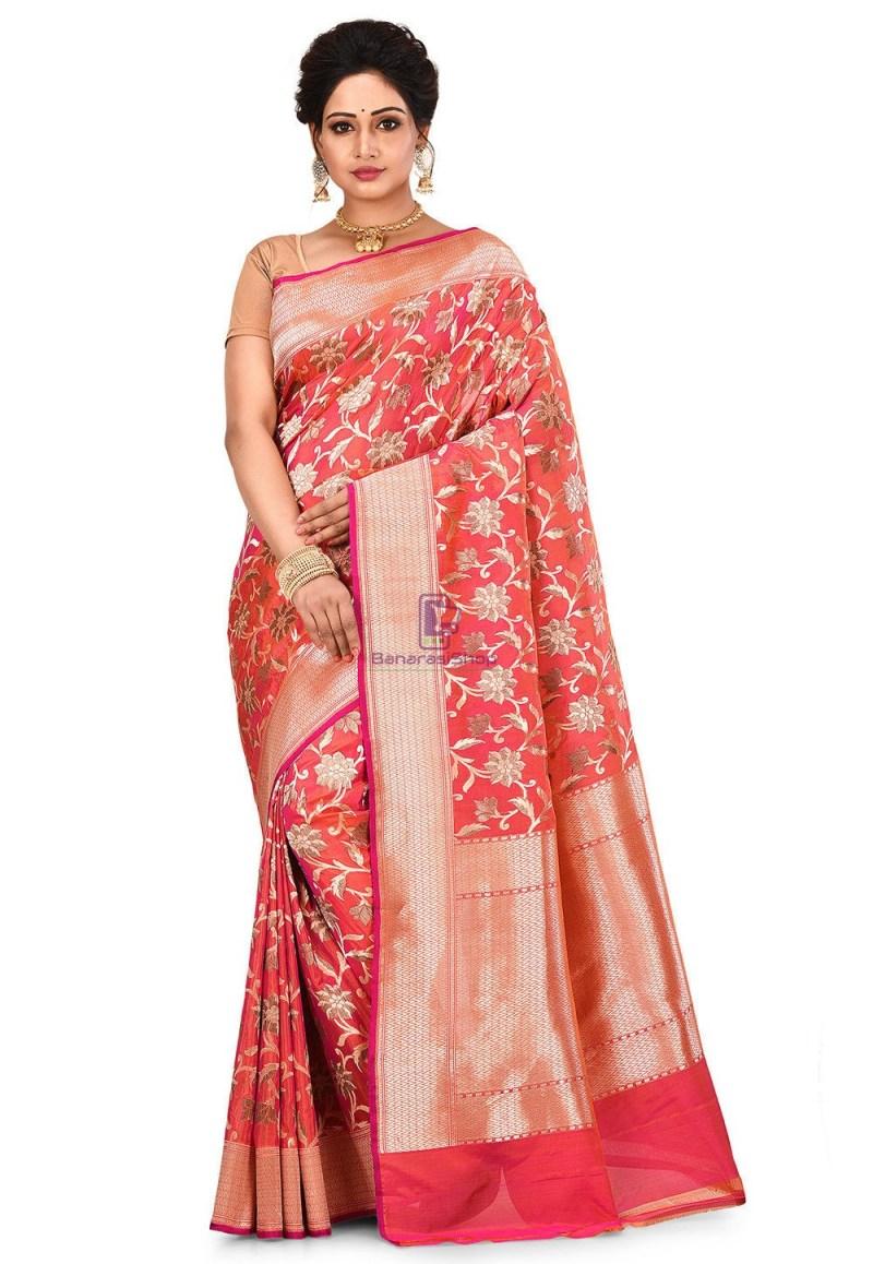 Pure Banarasi Katan Silk Handloom Saree in Fuchsia and Orange Dual Tone 1